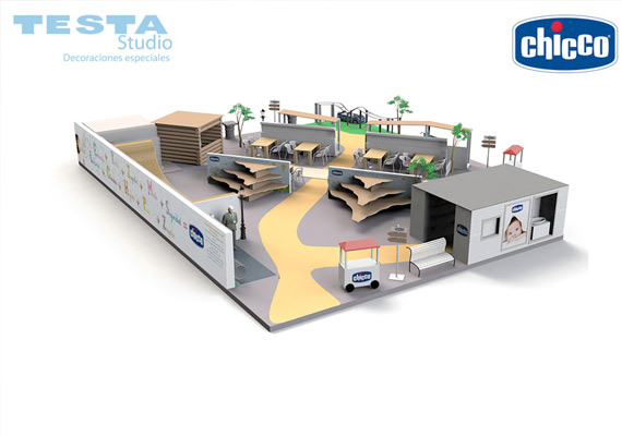 Stand project for Chicco Spain, 3d renderings Testa Design+.